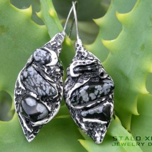 Snowflake Obsidian Clay Earrings, Crystal Healing Stones, Ooak Bohemian, Yoga Gift For Her, Women Jewelry | Natural genuine Snowflake Obsidian earrings. Buy crystal jewelry, handmade handcrafted artisan jewelry for women.  Unique handmade gift ideas. #jewelry #beadedearrings #beadedjewelry #gift #shopping #handmadejewelry #fashion #style #product #earrings #affiliate #ad