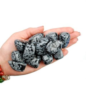 Shop Tumbled Snowflake Obsidian Crystals & Pocket Stones! Snowflake Obsidian Tumbled Stone, Obsidian Tumbled Stones, Healing Snowflake Obsidian Crystals, Obsidian Healing Stones, Ladiescrystals | Natural genuine stones & crystals in various shapes & sizes. Buy raw cut, tumbled, or polished gemstones for making jewelry or crystal healing energy vibration raising reiki stones. #crystals #gemstones #crystalhealing #crystalsandgemstones #energyhealing #affiliate #ad