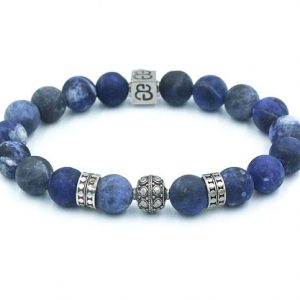 Shop Sodalite Bracelets! Matte Sodalite and Sterling Silver Bracelet, Men's Silver Beads Bracelet, Bead Bracelets Men, Men's Bracelet, Designer Bracelet | Natural genuine Sodalite bracelets. Buy crystal jewelry, handmade handcrafted artisan jewelry for women.  Unique handmade gift ideas. #jewelry #beadedbracelets #beadedjewelry #gift #shopping #handmadejewelry #fashion #style #product #bracelets #affiliate #ad