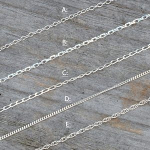 "Solid Sterling Silver Chain, Trace, Diamond Cut Trace, Diamond Cut Curb, Curb And Rope, 14"", 16"", 18"", 20"", 22"", 24"", made in England 