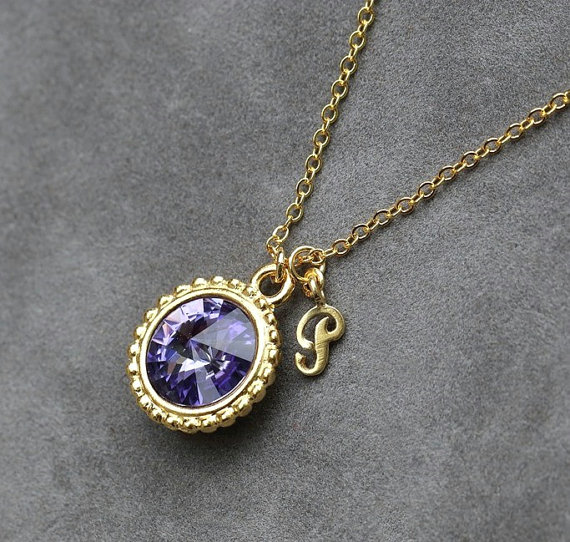 December Birthstone Jewelry, Tanzanite Necklace, Personalized Initial Jewelry, Gold New Mother Initial Necklace