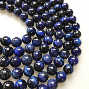 "Blue Tiger Eye Smooth Round Beads 4mm 6mm 8mm 10mm 12mm 15.5"" Strand 