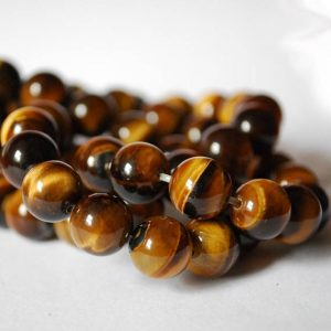 "Shop Tiger Eye Round Beads! High Quality Grade A Natural Tigers Eye Semi-precious Gemstone Round Beads – 4mm, 6mm, 8mm, 10mm sizes – 15.5"" strand 
