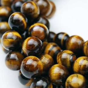 "Shop Tiger Eye Round Beads! Yellow Tiger Eye Smooth Round Beads 4mm 6mm 8mm 10mm 12mm 14mm – 20mm 15.5"" Strd 