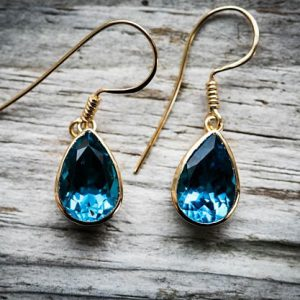 Shop Topaz Earrings! Swiss Blue Topaz 14K Gold Dangle Earrings – Swiss Blue Topaz 14K gold earrings – Blue Topaz Earrings -Swiss Blue Topaz 14K gold Dangles | Natural genuine Topaz earrings. Buy crystal jewelry, handmade handcrafted artisan jewelry for women.  Unique handmade gift ideas. #jewelry #beadedearrings #beadedjewelry #gift #shopping #handmadejewelry #fashion #style #product #earrings #affiliate #ad