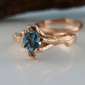 Shop Topaz Jewelry! Rose Gold Gemstone Engagement Ring set – Blue Topaz Twig Bridal Ring Set, Branch Birthstone Promise Ring, Engagement Rings, Custom Jewelry | Natural genuine gemstone jewelry in modern, chic, boho, elegant styles. Buy crystal handmade handcrafted artisan art jewelry & accessories. #jewelry #beaded #beadedjewelry #product #gifts #shopping #style #fashion #product