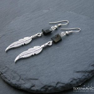 Black Tourmaline Raw Feather Dangling Earrings, Silver Boho Chic Jewellery, Earthy Women Jewelry, Emf Protection Stone, Yoga Gift, For Her