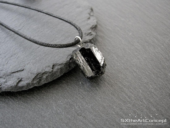 Tourmaline Pendant, Black Unisex Amulet Necklace, Electromagnetic Field Emf Protection Stone, Schorl Jewellery, Gift For Him, Men Jewelry