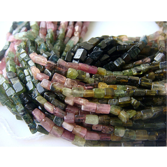 Wholesale Multi Tourmaline Lot, - Multi Tourmaline Cube Rondelles - Approx 4mm - 5 Strands - 14 Inches Each