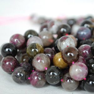 "Shop Tourmaline Beads! High Quality Grade A Natural Multi-colour Tourmaline Semi-precious Gemstone Round Beads – 4mm, 6mm, 8mm, 10mm sizes – Approx 15.5"" strand 