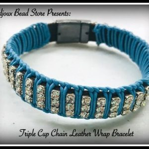 Shop Learn Beading - Books, Kits & Tutorials! Triple Cup Chain Leather Wrap Bracelet Kit!  So many colors to choose from!! | Shop jewelry making and beading supplies, tools & findings for DIY jewelry making and crafts. #jewelrymaking #diyjewelry #jewelrycrafts #jewelrysupplies #beading #affiliate #ad