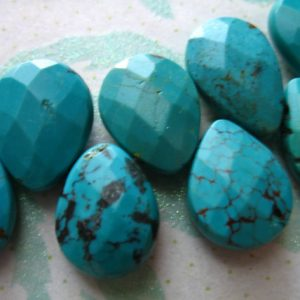 Shop Turquoise Faceted Beads! Turquoise Pear Bead Briolette, Faceted Gemstone, 1-10 pcs, Luxe AAA, 15-17 x 11-12 mm, Large, december birthstone, Genuine Turquoise tr 1517 | Natural genuine faceted Turquoise beads for beading and jewelry making.  #jewelry #beads #beadedjewelry #diyjewelry #jewelrymaking #beadstore #beading #affiliate #ad