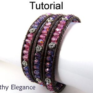 Shop Learn Beading - Books, Kits & Tutorials! Tutorial Pattern – Jewelry Making Bracelet – Beaded Leather Wrap – Simple Bead Patterns – Earthy Elegance #4762 | Shop jewelry making and beading supplies, tools & findings for DIY jewelry making and crafts. #jewelrymaking #diyjewelry #jewelrycrafts #jewelrysupplies #beading #affiliate #ad
