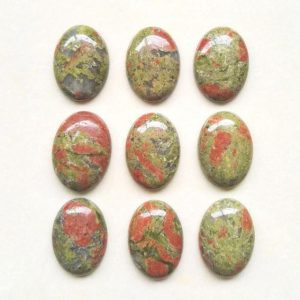 Shop Unakite Cabochons! 2pcs Aaa Natural Unakite Oval Cabochon Flatback Gemstone Cabochons 18x13mm #go39 | Natural genuine gemstones & crystals in various shapes & sizes. Buy raw cut, tumbled, or polished for making jewelry or crystal healing energy reiki stones. #crystals #gemstones #crystalhealing #crystalsandgemstones #energyhealing #affiliate