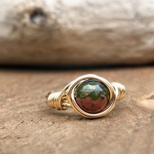 Unakite Ring, Wire Wrapped Unakite Ring, Pregnancy Ring, Midwife Gift, Doula Gift, Midwife Ring | Natural genuine Gemstone rings, simple unique handcrafted gemstone rings. #rings #jewelry #shopping #gift #handmade #fashion #style #affiliate #ad
