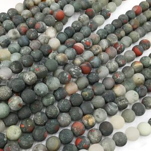 Shop Bloodstone Beads! Matte African Bloodstone Beads , Gemstone Loose Beads 6mm 8mm 10mm 12mm | Natural genuine round Bloodstone beads for beading and jewelry making.  #jewelry #beads #beadedjewelry #diyjewelry #jewelrymaking #beadstore #beading #affiliate #ad
