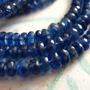 Shop Kyanite Faceted Beads! 5-100 pcs KYANITE Rondelles Beads, Luxe AA, 3-4 or 4-5 mm / Kashmir Sapphire Blue, bridal brides something blue / tr 34 45 solo | Natural genuine faceted Kyanite beads for beading and jewelry making.  #jewelry #beads #beadedjewelry #diyjewelry #jewelrymaking #beadstore #beading #affiliate #ad