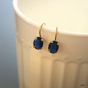 Navy Blue Earrings, Dangle Earrings, 14K Gold Earrings, Zircon Earrings, Jewelry For Women, Gemstone Earring, Statement Jewelry, Handmade | Natural genuine Zircon earrings. Buy crystal jewelry, handmade handcrafted artisan jewelry for women.  Unique handmade gift ideas. #jewelry #beadedearrings #beadedjewelry #gift #shopping #handmadejewelry #fashion #style #product #earrings #affiliate #ad