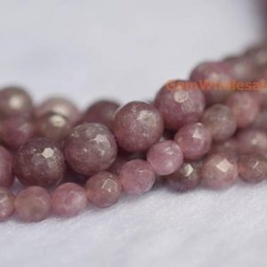 "15.5"" 4mm/6mm natural lepidolite round faceted beads, purple DIY semi-precious stone, natural purple gemstone, Lithium Mica 
