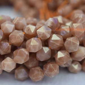 "Shop Sunstone Beads! 15.5"" 8mm/10mm Sunstone round faceted beads, semi-precious stone, orange color beads, gemstone wholesaler, star cutting beads 