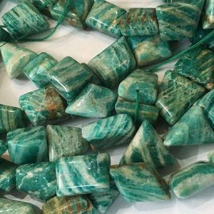 Shop Amazonite Chip & Nugget Beads! 17 Inch Natural Banded Amazonite Tumbled Nuggets Beads, amazonite Smooth Nugget Beads. | Natural genuine chip Amazonite beads for beading and jewelry making.  #jewelry #beads #beadedjewelry #diyjewelry #jewelrymaking #beadstore #beading #affiliate #ad