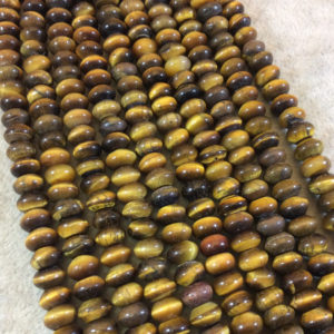 "Shop Tiger Eye Rondelle Beads! 5mm x 8mm Natural Brown Tiger Eye Smooth Finish Rondelle Shaped Beads with 2.5mm Holes – 7.75"" Strand (Approx. 36 Beads) – LARGE HOLE BEADS 