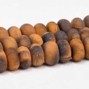"Shop Tiger Eye Rondelle Beads! 6x4MM Matte Yellow Tiger Eye Beads Grade AAA Genuine Natural Gemstone Full Strand Rondelle Loose Beads 15"" BULK LOT 1,3,5,10,50 (102983-640) 