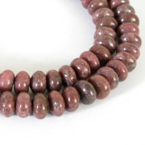 Shop Rhodonite Rondelle Beads! 8mm Rhodonite Beads, 8mm Rondelle Rhodonite Beads, Smooth Rondelle, Pink Gemstone Beads, Full Strand, 15 Inch Strand, Rho204 | Natural genuine rondelle Rhodonite beads for beading and jewelry making.  #jewelry #beads #beadedjewelry #diyjewelry #jewelrymaking #beadstore #beading #affiliate
