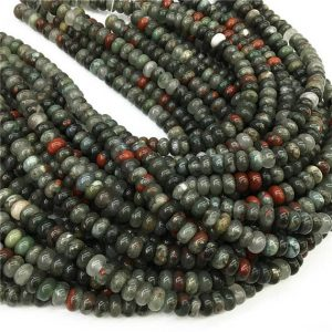 Shop Bloodstone Beads! 8x5mm African Bloodstone Rondelle Beads , 15.5 Inch Strand,Approx 78Beads | Natural genuine rondelle Bloodstone beads for beading and jewelry making.  #jewelry #beads #beadedjewelry #diyjewelry #jewelrymaking #beadstore #beading #affiliate