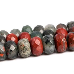 "Shop Bloodstone Beads! 8x5MM Blood Stone Beads Grade AAA Genuine Natural Gemstone Full Strand Faceted Rondelle Loose Beads 15.5"" BULK LOT 1,3,5,10,50 (102995-642) 