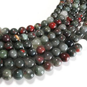 Shop Bloodstone Beads! African Bloodstone Beads | Round Natural Gemstone Beads | Sold by 15 Inch Strand | Size 4mm 6mm 8mm 10mm 12mm | Natural genuine round Bloodstone beads for beading and jewelry making.  #jewelry #beads #beadedjewelry #diyjewelry #jewelrymaking #beadstore #beading #affiliate #ad