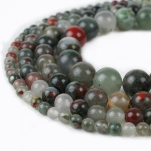 "Shop Bloodstone Beads! African Bloodstone Beads 4mm 6mm 8mm 10mm 12mm Loose Gemstone Round 15.5"" Full Strand Wholesale 