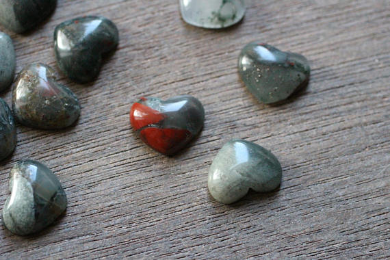 African Bloodstone Small Stone Shaped Heart With Flat Back G39