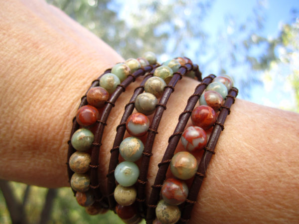 African Opal Beaded Leather Wrap Bracelet Project