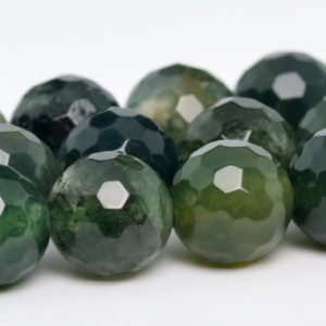 "Shop Moss Agate Beads! 8MM Moss Agate Beads Grade AAA Genuine Natural Gemstone Full Strand Micro Faceted Round Loose Beads 15"" BULK LOT 1,3,5,10,50 (100811-338) 