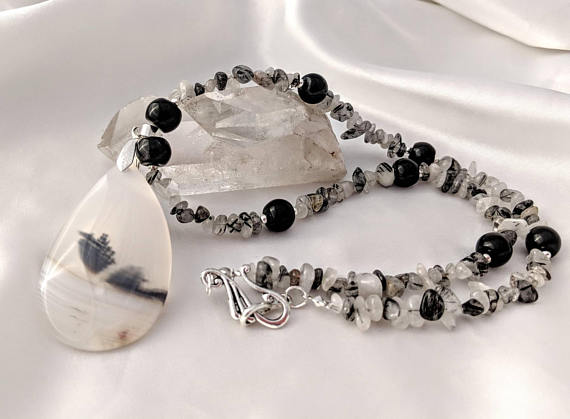Bold Dendritic Agate Pendant Necklace, With Tourmalinated Quartz. Gemstone Looks Like Fossils. Black And White Natural Stones.
