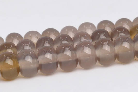 Gray Agate Beads Grade Aaa Genuine Natural Gemstone Rondelle Loose Beads 6x4mm 8x5mm Bulk Lot Options