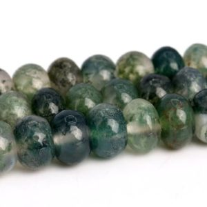 Botanical Moss Agate Beads Grade AAA Genuine Natural Gemstone Rondelle Loose Beads 6x4MM 8x5MM Bulk Lot Options | Natural genuine rondelle Agate beads for beading and jewelry making.  #jewelry #beads #beadedjewelry #diyjewelry #jewelrymaking #beadstore #beading #affiliate #ad