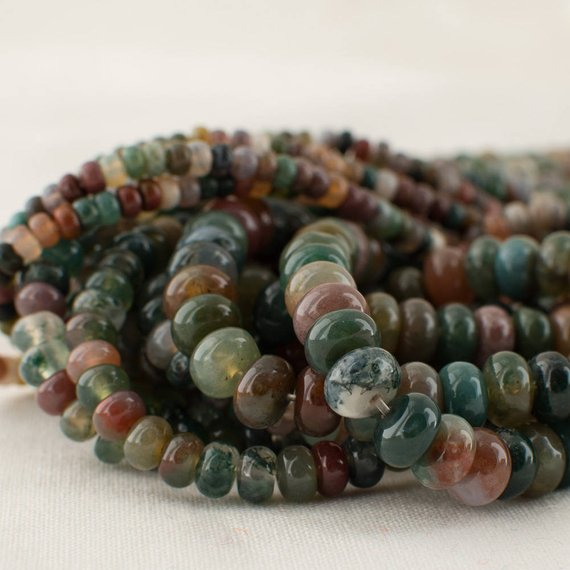 """High Quality Grade A Natural Indian Agate Semi-precious Gemstone Rondelle / Spacer Beads - 4mm, 6mm, 8mm Sizes - 15.5"""" Strand"""
