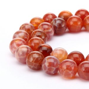 "Burnt Orange Fire Agate Smooth Round Beads 6mm 8mm 10mm 12mm 15.5"" Strand 