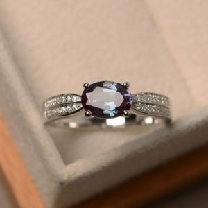 Alexandrite ring, June birthstone ring, oval cut gemstone, sterling silver ring, engagement ring for women | Natural genuine Gemstone rings, simple unique alternative gemstone engagement rings. #rings #jewelry #bridal #wedding #jewelryaccessories #engagementrings #weddingideas #affiliate #ad