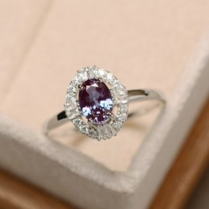 Shop Alexandrite Rings! Alexandrite Ring, Oval Cut, Gemstone Alexandrite, Delicate Ring, Sterling Silver | Natural genuine Alexandrite rings, simple unique handcrafted gemstone rings. #rings #jewelry #shopping #gift #handmade #fashion #style #affiliate #ad
