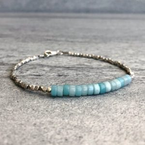 Shop Amazonite Bracelets! Amazonite Bracelet | Natural Stone Jewelry | Blue Crystal Bracelet | Tiny Hill Tribe Silver Beads | Minimalist Gemstone Jewelry | Natural genuine Amazonite bracelets. Buy crystal jewelry, handmade handcrafted artisan jewelry for women.  Unique handmade gift ideas. #jewelry #beadedbracelets #beadedjewelry #gift #shopping #handmadejewelry #fashion #style #product #bracelets #affiliate #ad