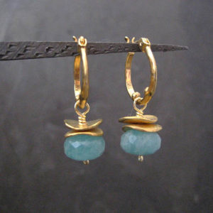 Amazonite Hoops,  Drop Earrings, Small Hoops, Gemstone Hoops, Faceted Amazonite, Gold Hoops, Rondelle Earrings, Genuine Stone, Handmade | Natural genuine Amazonite earrings. Buy crystal jewelry, handmade handcrafted artisan jewelry for women.  Unique handmade gift ideas. #jewelry #beadedearrings #beadedjewelry #gift #shopping #handmadejewelry #fashion #style #product #earrings #affiliate #ad
