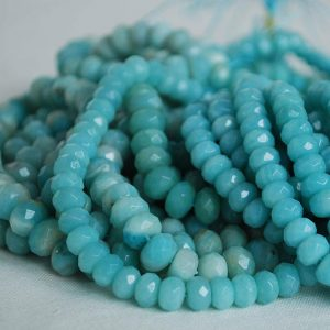 "Shop Amazonite Faceted Beads! Grade A Natural Amazonite Semi-precious Gemstone Faceted Rondelle Spacer Beads – 3mm, 4mm, 6mm, 8mm, 10mm Sizes – 15.5"" Strand 