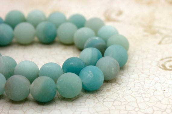 Natural Amazonite Matte Round Sphere Natural Gemstone Loose Beads (4mm 6mm 8mm 10mm)