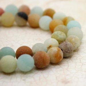 Shop Amazonite Round Beads! Amazonite Matte Mixed Colors Round Gemstone Beads (4mm 6mm 8mm 10mm) | Natural genuine round Amazonite beads for beading and jewelry making.  #jewelry #beads #beadedjewelry #diyjewelry #jewelrymaking #beadstore #beading #affiliate #ad