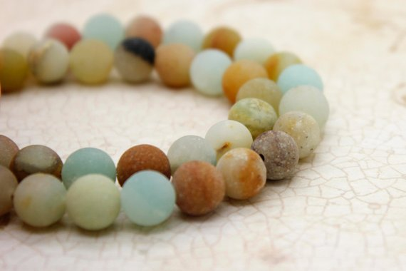 Amazonite Matte Mixed Colors Round Gemstone Beads (4mm 6mm 8mm 10mm)