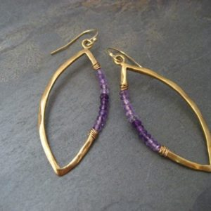 Ombre amethyst marquis earrings – sterling silver with 14k gold plating | Natural genuine Amethyst earrings. Buy crystal jewelry, handmade handcrafted artisan jewelry for women.  Unique handmade gift ideas. #jewelry #beadedearrings #beadedjewelry #gift #shopping #handmadejewelry #fashion #style #product #earrings #affiliate #ad