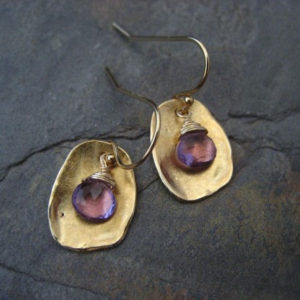 Pink amethyst earrings, earthy dangle, amethyst dangle, briolette drop, organic drops, irregular dangle, square earrings, lavender drops | Natural genuine Amethyst jewelry. Buy crystal jewelry, handmade handcrafted artisan jewelry for women.  Unique handmade gift ideas. #jewelry #beadedjewelry #beadedjewelry #gift #shopping #handmadejewelry #fashion #style #product #jewelry #affiliate #ad
